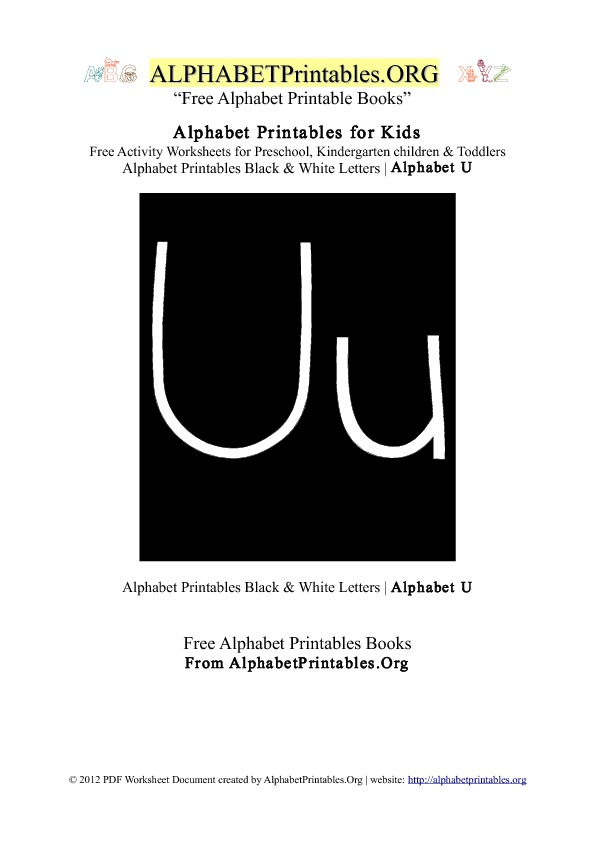 Letter U Alphabet Printables for Kids