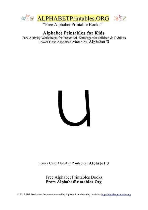Alphabet Printables Lowercase Letter U