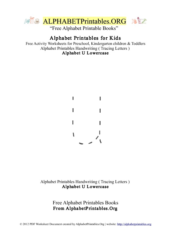 Niedlich Tracing Worksheet Alphabet U Kindergarten Worksheets ...