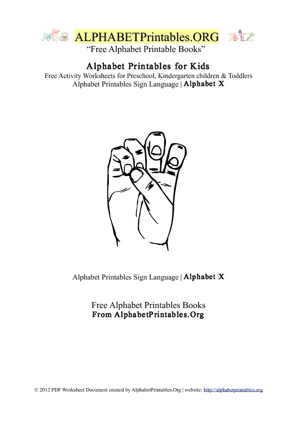 Alphabet Printables Sign Language Letter X