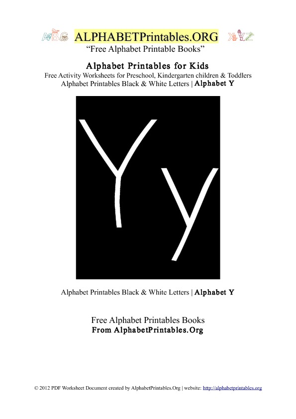 Alphabet Printables Black & White Letter Y