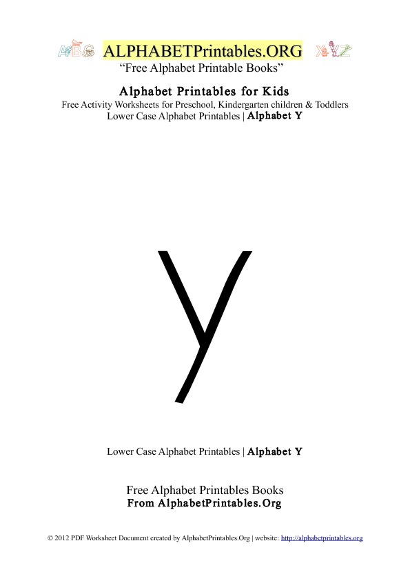 Alphabet Printables Lowercase Letter Y