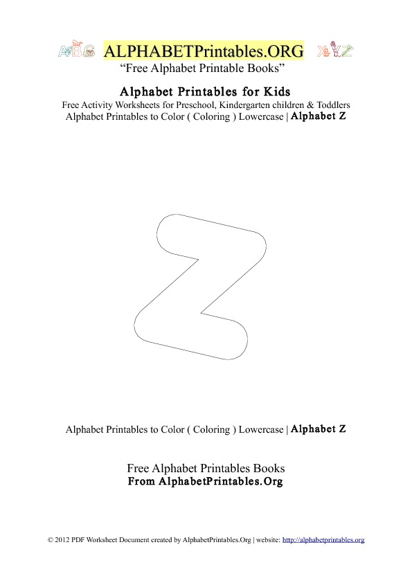 Alphabet Printables Small Letter Z Coloring