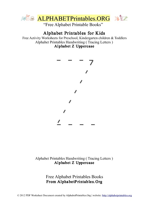 Alphabet Printables Uppercase Letter Z Tracing