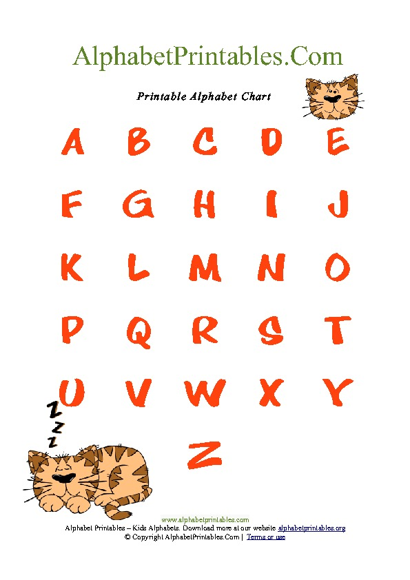 Cat Theme Alphabet Chart for Toddlers PDF Printable