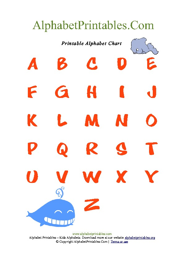 Whale Theme Alphabet Chart for Toddlers PDF Printable