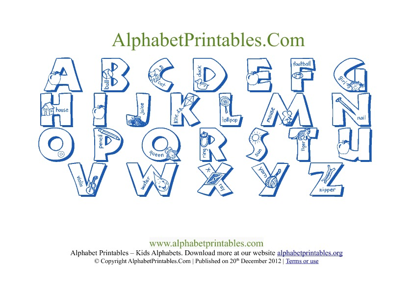 picture relating to Printable Alphabet Chart named Printable PDF Alphabet Letter Chart Templates Alphabet