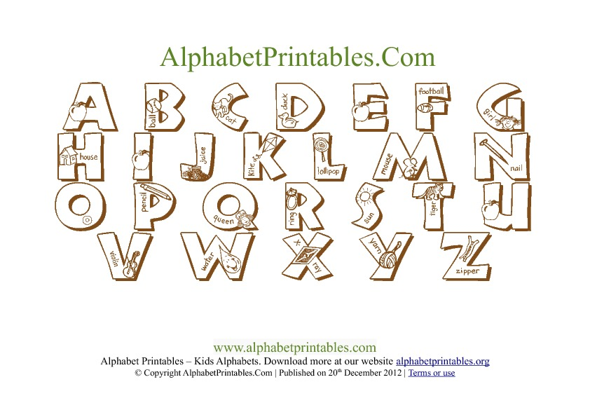 photo regarding Alphabets Chart Printable titled Printable PDF Alphabet Letter Chart Templates Alphabet