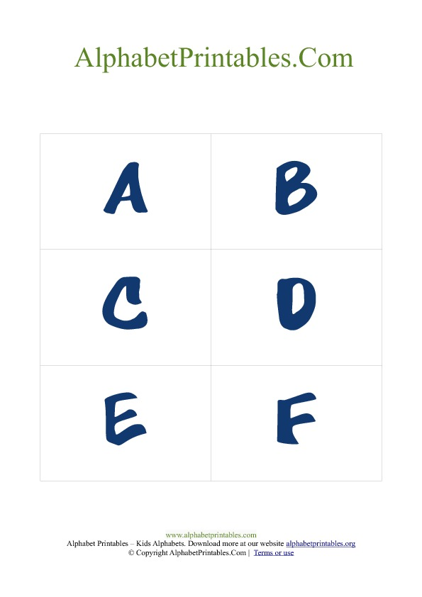 Alphabet Flash Cards PDF Template Uppercase Blue