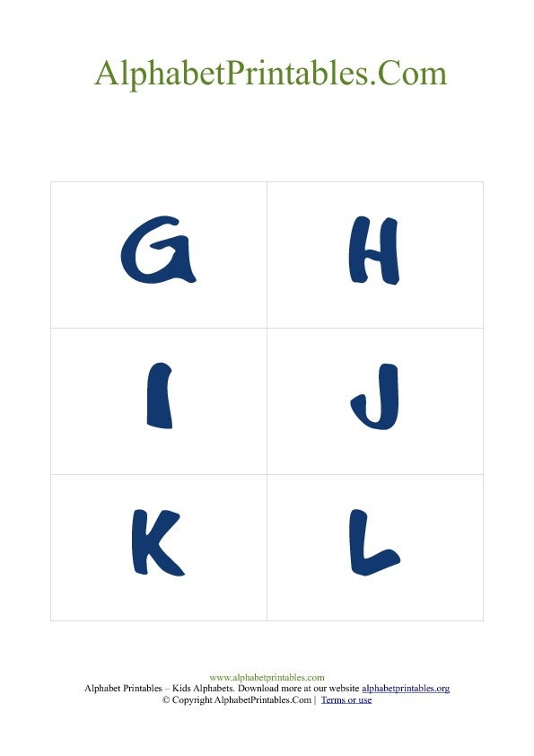 PDF Printable Uppercase Capital Alphabet Flash cards Blue