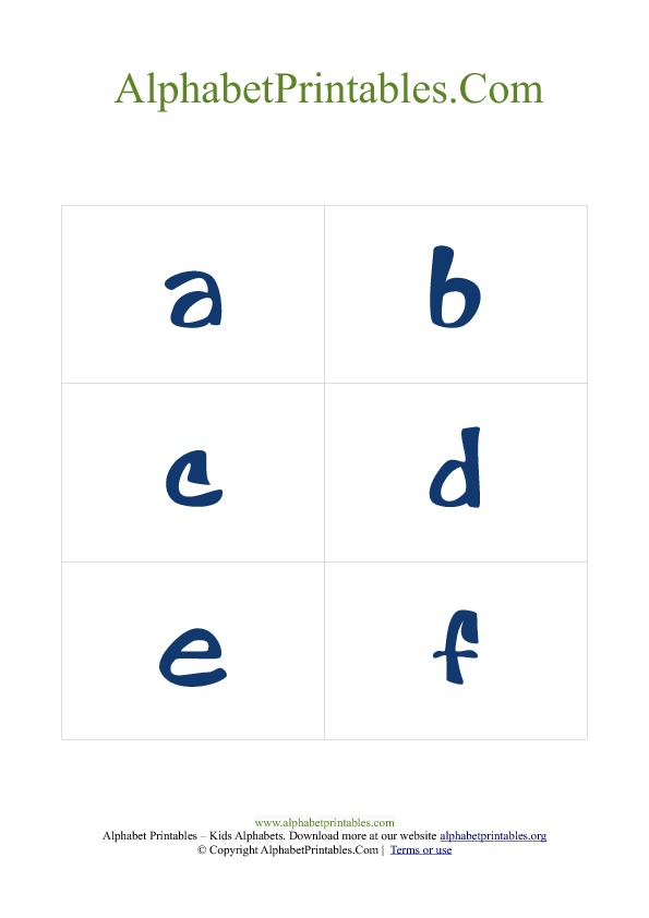Alphabet Flash Cards PDF Template Lowercase Blue
