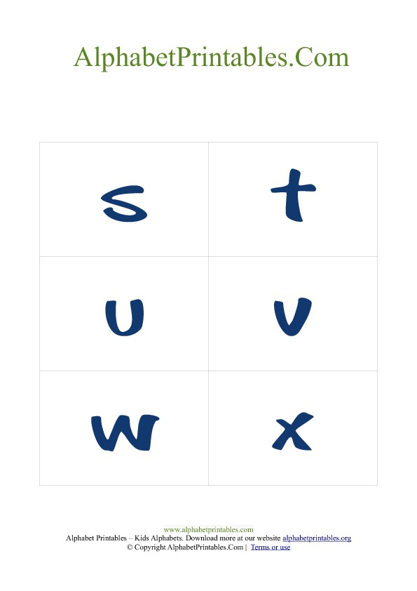 PDF Printable Lowercase Small Alphabet Flash cards Blue