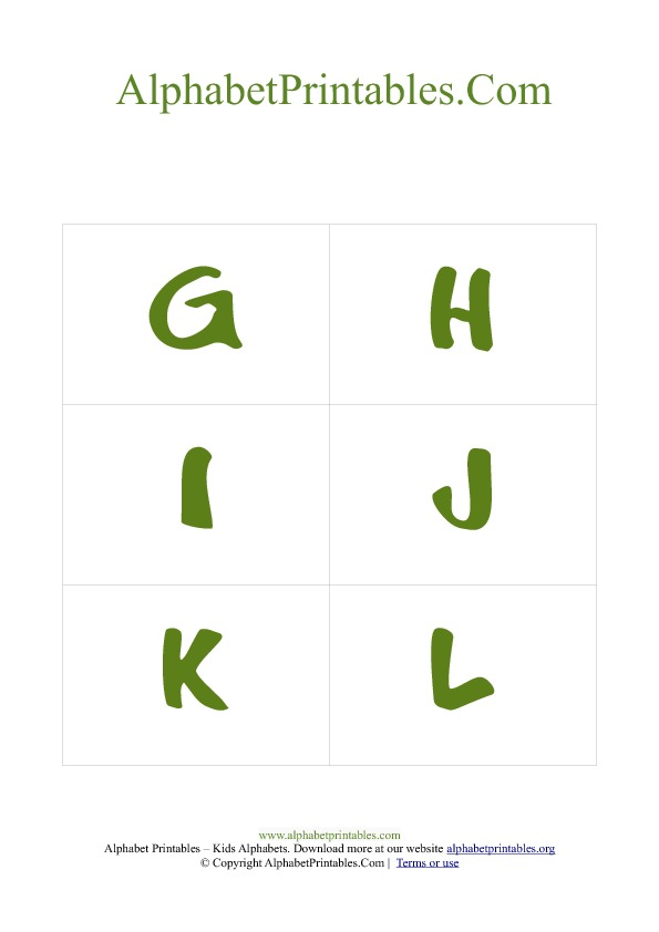 Alphabet Flash Cards Pdf Template Uppercase Green | Alphabet