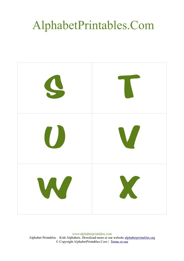 PDF Printable Uppercase Capital Alphabet Flash cards Green