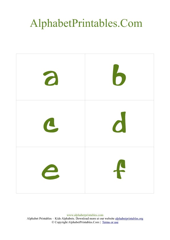 Alphabet Flash Cards PDF Template Lowercase Green