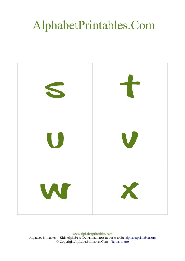 PDF Printable Lowercase Small Alphabet Flash cards Green