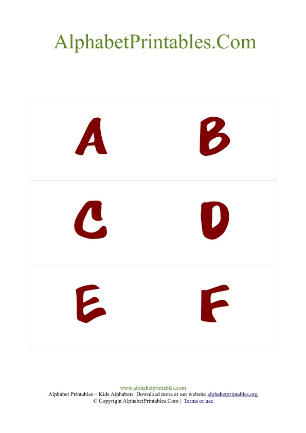 Alphabet Flash Cards PDF Template Uppercase Red