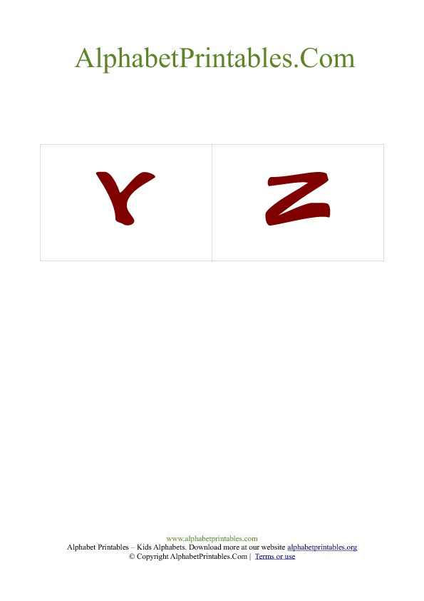 PDF Printable Uppercase Capital Alphabet Flash cards Red