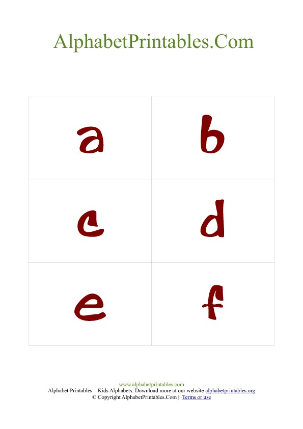 Alphabet Flash Cards Pdf Template Lowercase Red | Alphabet