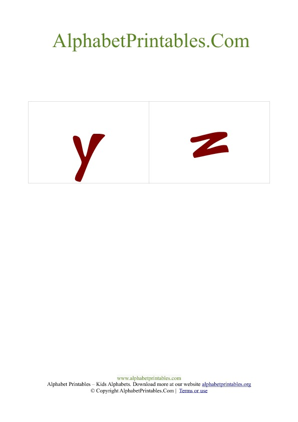 PDF Printable Lowercase Small Alphabet Flash cards Red