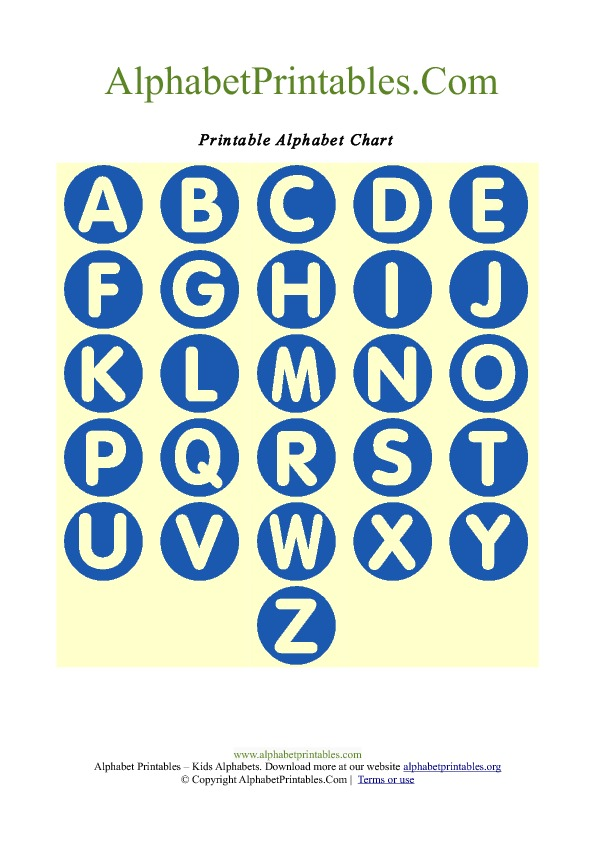 Printable Circle Shape Alphabet Letter Chart Blue