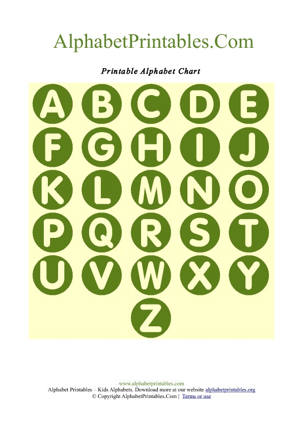 Circle Shaped A-Z Letter Chart Templates