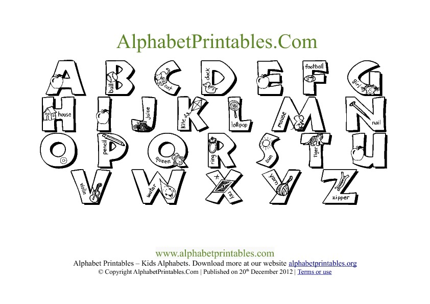 Letter A Template Printable from alphabetprintables.org